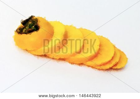 Watercolor Persimmon fruit isolated on the white background