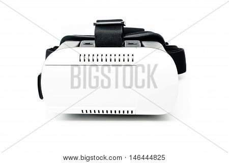vr - virtual reality headset with shadows on a white background