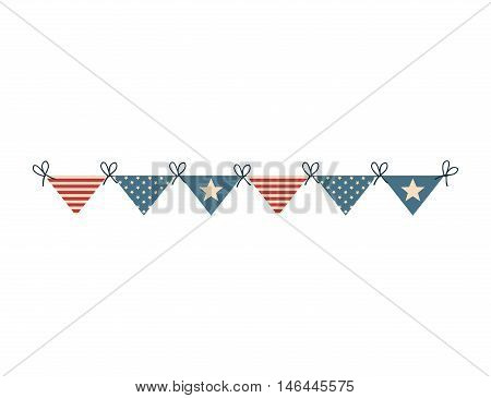 bunting flag america usa united states of america celebration party decoration. vector illustration