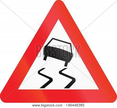 Belgian Warning Road Sign - Slippery Road