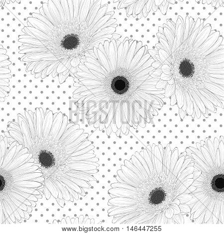 Beautiful monochrome black and white seamless background with flowers. Hand-drawn contour lines and strokes.