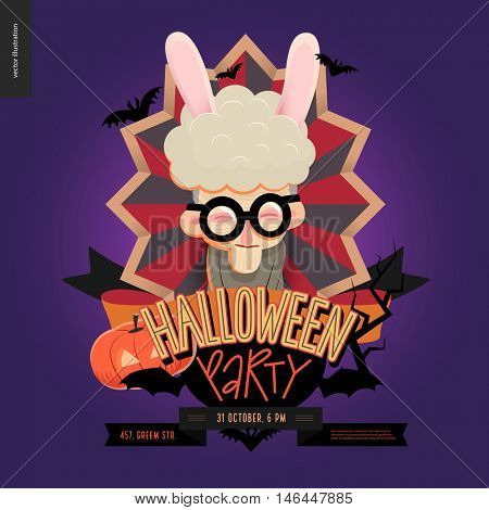 Halloween Party composed sign emblem invitation. Flat vectror cartoon illustrated design of an old lady wearing bunny ears in center of striped shield, bats, pumpkin jack-o-lantern, ribbon, lettering.