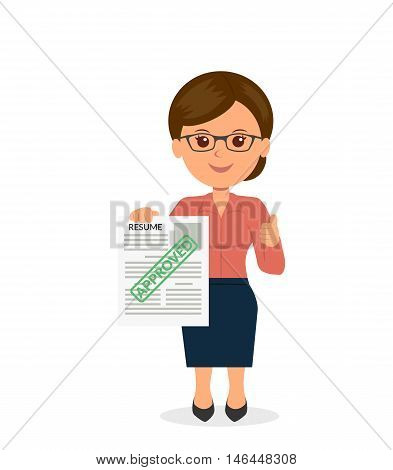Young woman holding a resume the employer approved. HR management. Concept design infographic search worker. Hiring employees. Isolated vector illustration in a flat style.