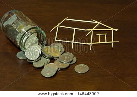 The Coins and picture house from Toothpick