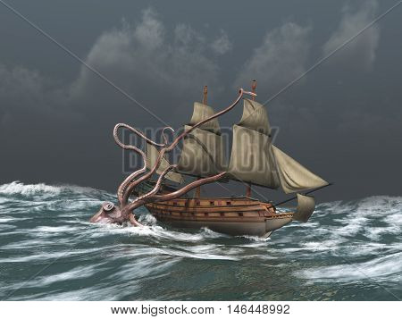 3d illustration of a Kraken attacking an ancient ship