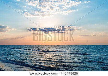 Sunrise on the sea horizon, water, ocean