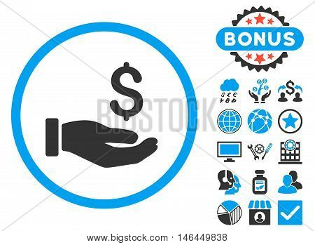 Earnings Hand icon with bonus. Vector illustration style is flat iconic bicolor symbols, blue and gray colors, white background.