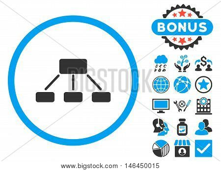 Hierarchy icon with bonus. Vector illustration style is flat iconic bicolor symbols, blue and gray colors, white background.