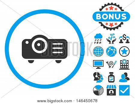 Projector icon with bonus. Vector illustration style is flat iconic bicolor symbols, blue and gray colors, white background.