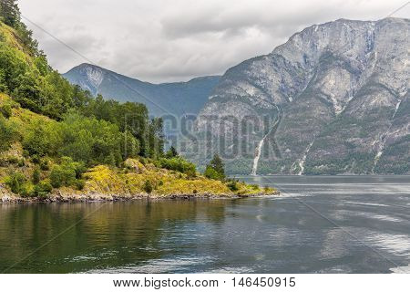 Scenic view of Aurlandsfjord banks and mountains  in Norway