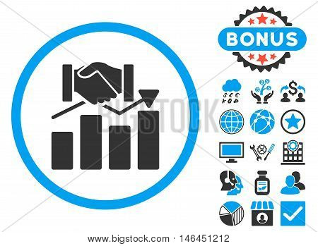Acquisition Graph icon with bonus. Glyph illustration style is flat iconic bicolor symbols blue and gray colors white background.