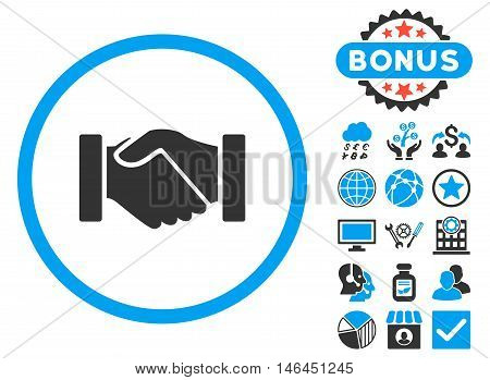 Acquisition Handshake icon with bonus. Glyph illustration style is flat iconic bicolor symbols blue and gray colors white background.