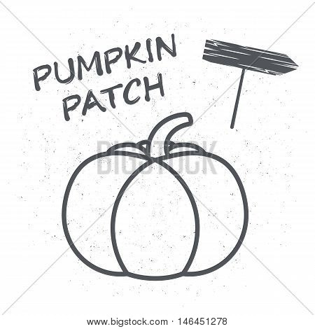 Embelema or a poster with pumpkin illustrations