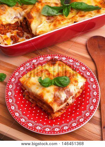 Lasagna Bolognese - classic italian pasta recipe. Shot from above vertical