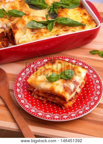 Lasagna Bolognese - classic italian pasta recipe. Shot from top