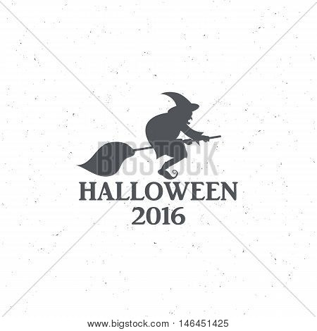 The emblem or poster for Halloween 2016 with a witch on a broomstick, for decorating party. illustrations
