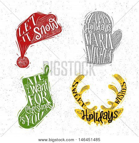Christmas vintage silhouettes Santa hat mitten deer sock with greeting lettering let it snow happy holidays warm wishes all i want for Christmas is you sweet holidays wishes drawing with color on dirty paper background
