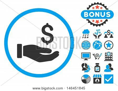 Earnings Hand icon with bonus. Glyph illustration style is flat iconic bicolor symbols blue and gray colors white background.