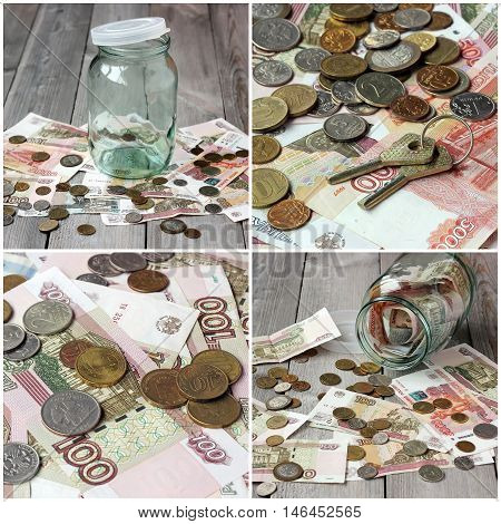 Empty glass jar and Russian money (paper and coin) on the wooden floor. The concept of storing money deposits.