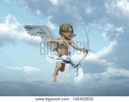 3d illustration of Cupid shooting an arrow