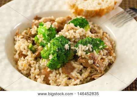 Slow cooked dish with chicken tights rice and broccoli. Close up