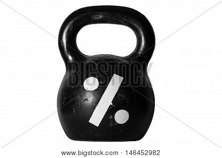 Heavy cast-iron kettlebell with percent sign as symbol of difficulty of loan and installment plan in business and everyday life. Isolated image of kettlebell