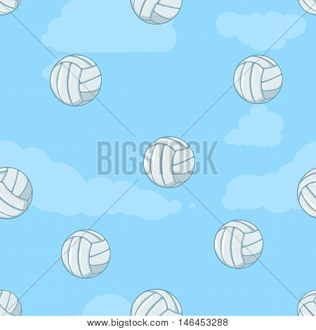 Vector Seamless Pattern Of  Volleyball Balls On Blue Background
