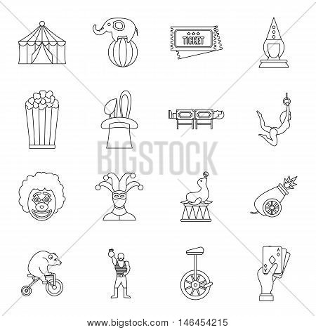 Circus entertainment icons set in outline style. Circus animals and characters set collection vector illustration