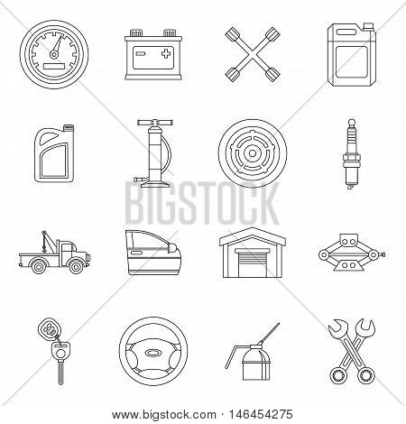 Car maintenance and repair icons set in outline style. Auto service set collection vector illustration