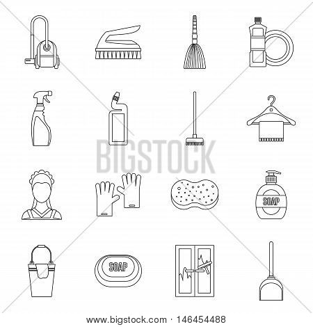 House cleaning icons set in outline style. Maid service set collection vector illustration