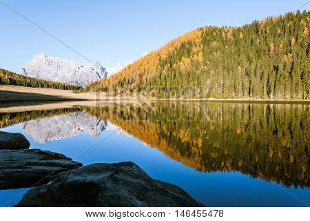 Reflections On Water, Autumn Panorama From Mountain Lake