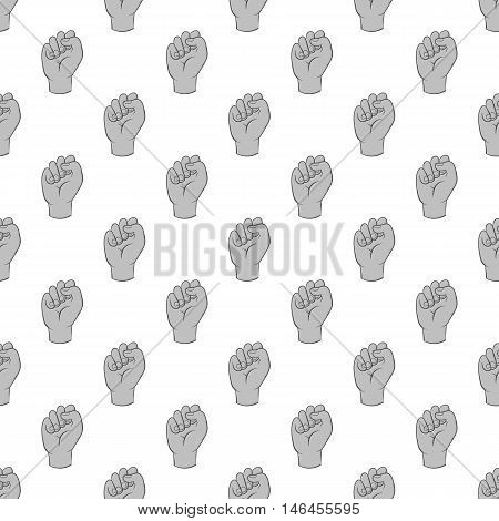 Gesture fist seamless pattern on white background. Gesticulate design vector illustration