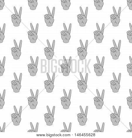 Gesture victoria seamless pattern on white background. Gesticulate design vector illustration