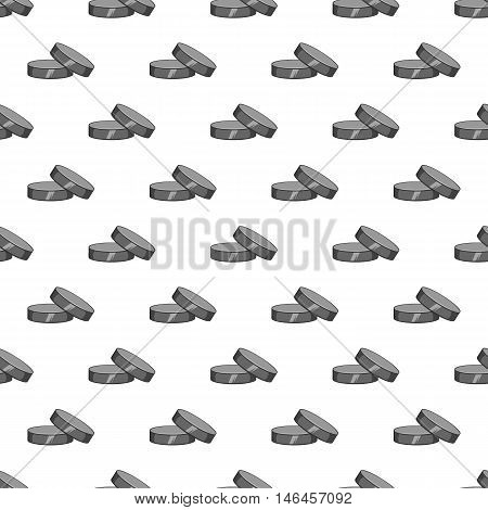 Puck for playing hockey seamless pattern on white background. Sport design vector illustration