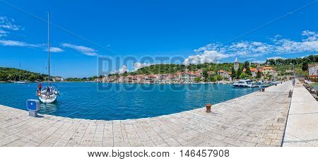 Prvic Luka Croatia at beautiful summer day, panoramic view from the the main pier.