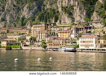 Lake Garda Italy - June 29 2016: Limone sul Garda is a town in Lombardy (northern Italy) on the west shore of Lake Garda.