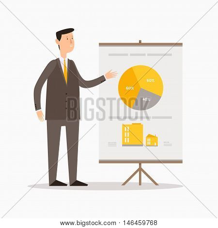 Cartoon businessman showing graph or presenting growing business. Board with diagram. Vector illustration.