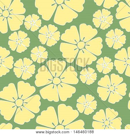 Elegant yellow sakura cherry blossom seamless pattern background over green
