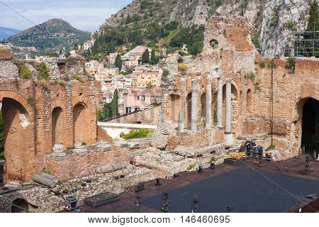 The ruins of the Greek Theater in Taormina Sicily Italy