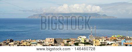 City Of Sao Filipe With The Island Of Brava In View