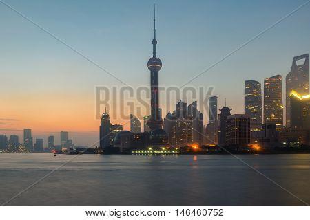 Shanghai China city skyline on the Huangpu River in Shanghai China