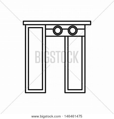 Security gates with metal detector and scanner icon in outline style on a white background vector illustration