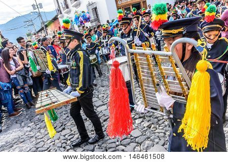 Antigua Guatemala - September 15 2015: School band marches in streets during Guatemalan Independence Day celebrations