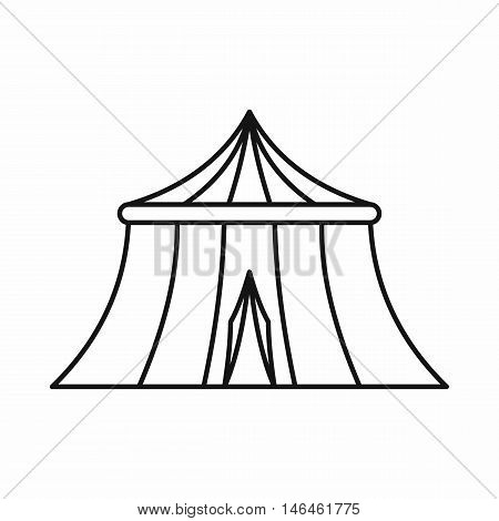Circus tent icon in outline style on a white background vector illustration