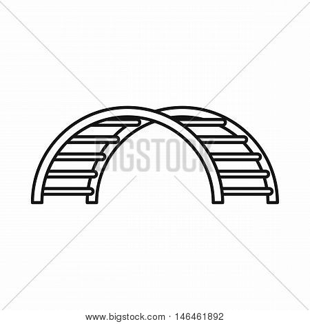 Climbing stairs on a playground icon in outline style on a white background vector illustration