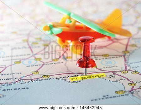 Florida Usa Map Airplane