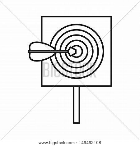Red target and dart icon in outline style on a white background vector illustration
