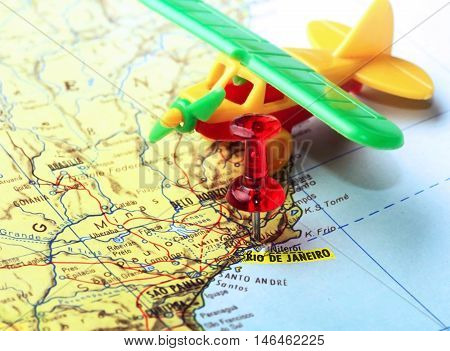 Map Pin  Of  Rio De Janeiro Airplane