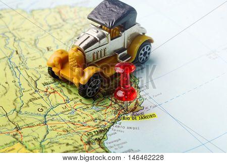 Map Pin  Of  Rio De Janeiro Retro Car