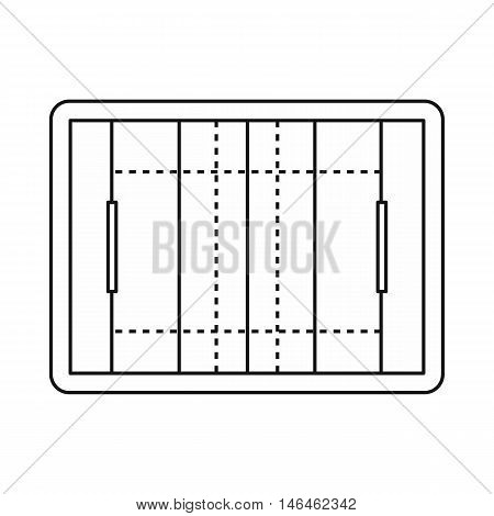 Rugby field icon in outline style on a white background vector illustration